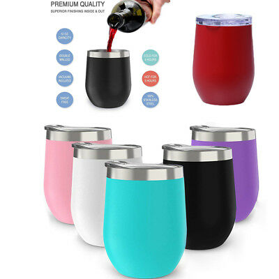 12oz Metal Stainless Steel Wine Glass Tumbler Double Wall Insulated Rambler Cup