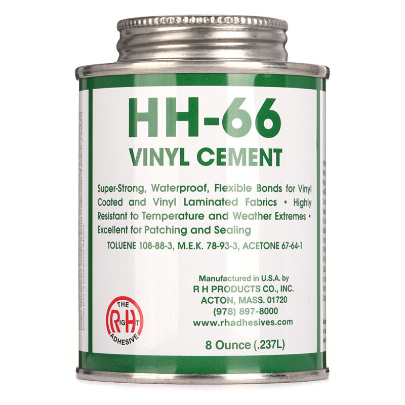RH Adhesives Industrial Strength HH-66 Vinyl Cement Glue w/ Brush, 8 oz, Clear
