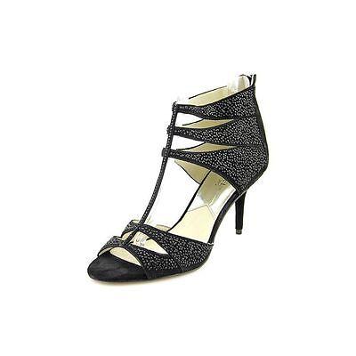 Michael Kors Mavis T Strap Suede Caged Studded Sandal Black Open Stilettos 5.5 M