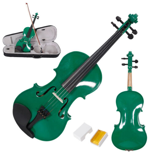 Acoustic Practice Violin 4/4 Full Size Green Color with Case Bow Rosin