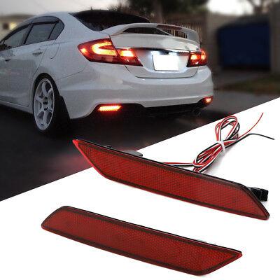 - LH & RH Red Lens 60-SMD LED Bumper Reflector Marker Light Fits 13-15 Honda Civic