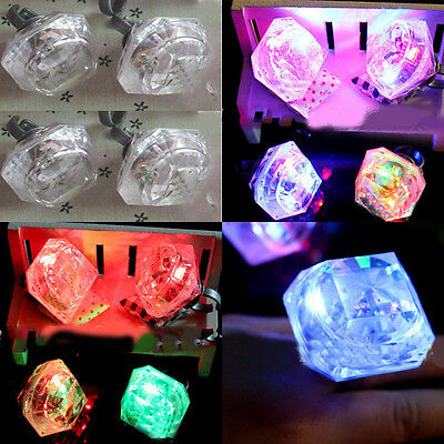 1Pc Flashing Diamond Plastic Luminous Finger Rings Kids Toys Accessory Supplies