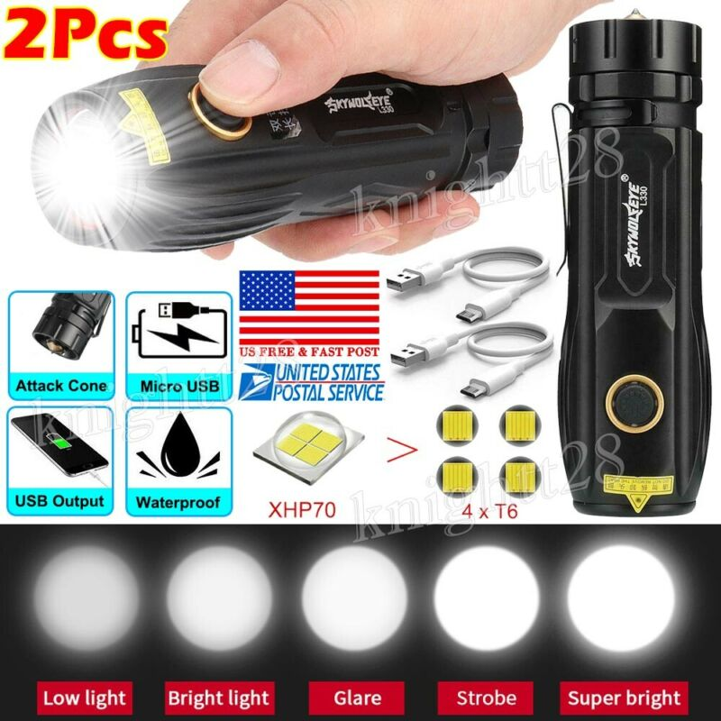Tactical XHP70 LED Flashlight 5 Modes 26650 Rechargeable Tor
