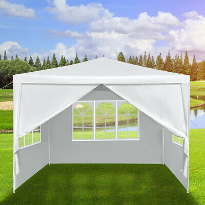 White Waterproof 3x3m Heavy Duty Gazebo Marquee Garden Awning Party Tent Canopy