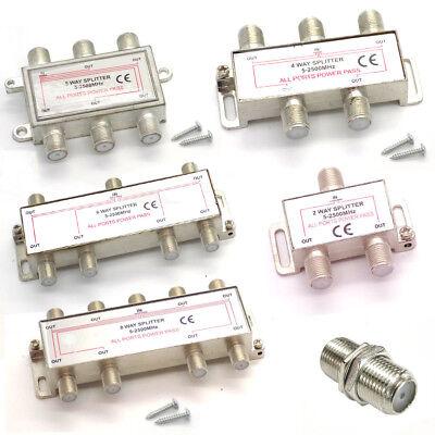 2/3/4/5/6/8 Way F Type Screw Connector Virgin Sky BOX TV Satellite Y Splitter Digitale Y-splitter