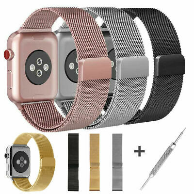 For Apple Watch Series 4 40mm 44mm Magnetic Milanese Loop Band Stainless Steel ()
