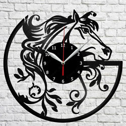 Horse Vinyl Record Wall Clock Home Fan Art Decor 12'' 30 cm 6391