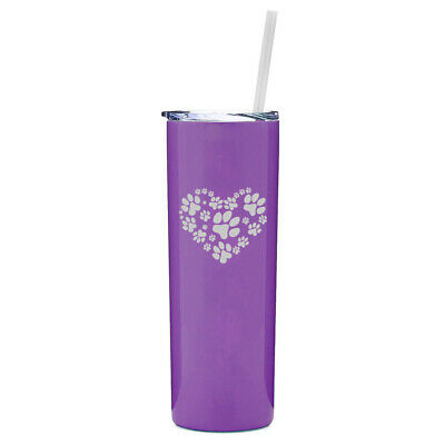 Print Insulated Travel Mug (20 oz Skinny Tumbler Stainless Insulated Travel Mug w Straw Heart Paw Prints)