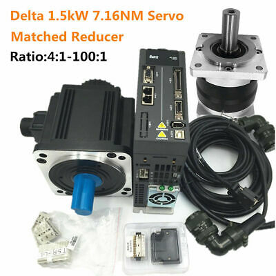 Delta 1.5kw 7.16nm Ac Servo Motor Drive 2000rmplanetary Gear Box Speed Reducer