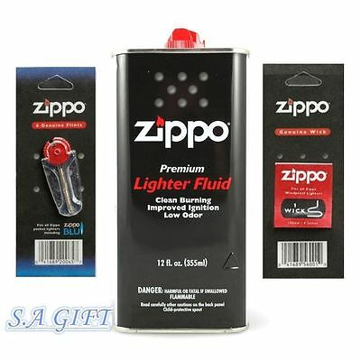 Zippo Lighter Fluid (Zippo Lighter 12oz Can Fuel Fluid and Flint & Wick Value Pack Combo Set NEW )