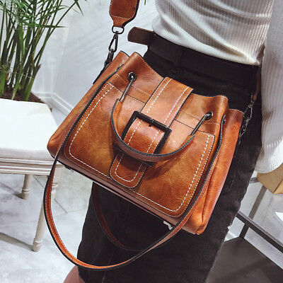 Women Vintage Handbag Tote Leather Shoulder Bags Boho Crossbody Purse Satchel - Boho Leather