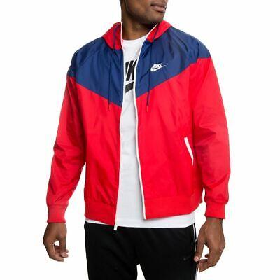 Nike Sportswear Windrunner Windbreaker Jacket Red Blue Nylon Soft Glanz M
