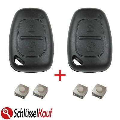 2X Autoschlüssel Gehäuse +4x Mikrotaster passend für Renault Master Trafic Opel
