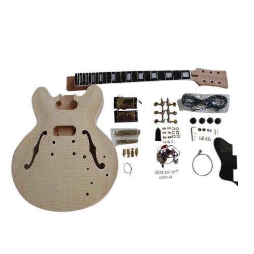 Coban Guitars DIY Guitar Kit ES230 Flamed Maple Veneer Gold / Black Fittings