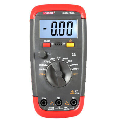 Ua6013l Digital Capacitor Capacitance Meter Tester Data Hold W Test Clip L2a5