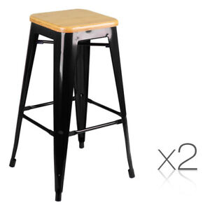 2 x Ruby Metal and Bamboo Bar Stools Black 76cm