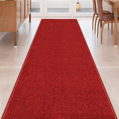 Custom Size Stair Hallway Runner Rug Rubber Back Non Skid RED CARPET 22
