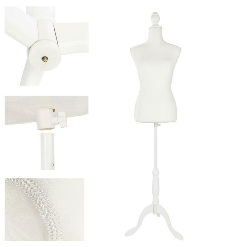 Female Mannequin Torso Clothing Dress Form Shop Display W/ White Tripod Stand