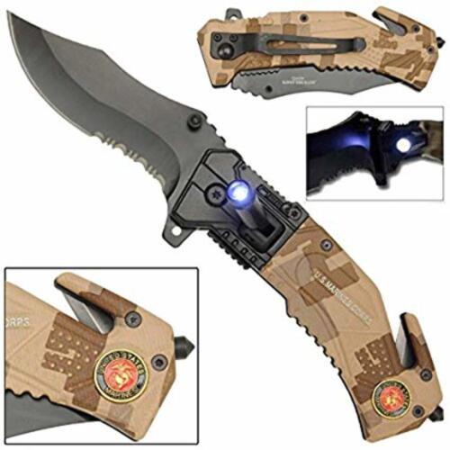 USMC Digital Marines Spring Assisted Tactical Folding Pocket Knife Led Light
