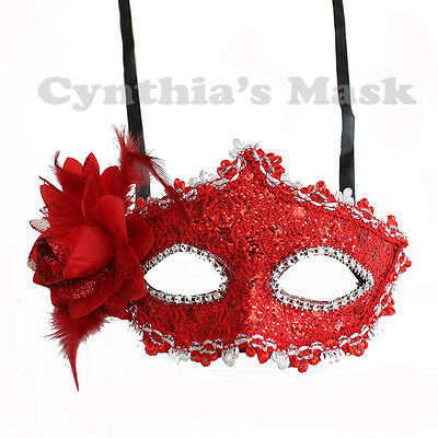 Venetian Costumes And Masks (Red Floral Venetian Masquerade Mask w/Rhinestones and Glitter Party Prom)