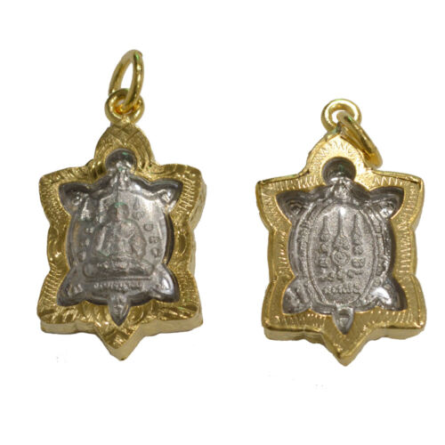 Thai Amulets Turtle Gold Plate Case Pendant Magic Good Luck Protection Buddhist