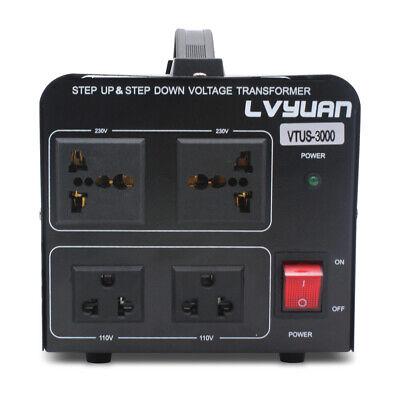 3000W Voltage Converter Transformer Heavy Duty Step Up/Down 110v-220v/220v-110v -