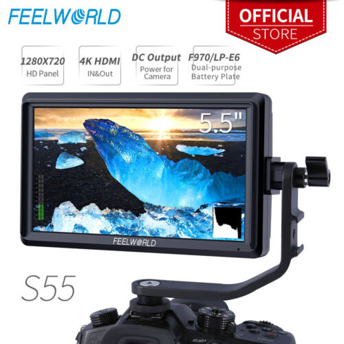 FEELWORLD S55 5.5 inch Camera DSLR Field Video Monitor HD 1280x720 IPS 4K HDMI