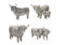 Silver highland cow ornaments