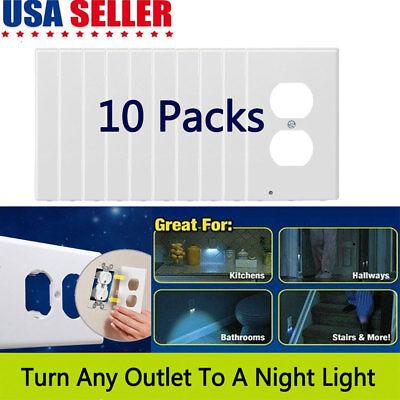 10 Packs Night Angel Light Sensor LED Outlet Cover Wall Plug in 3 LED 110V 1.5W