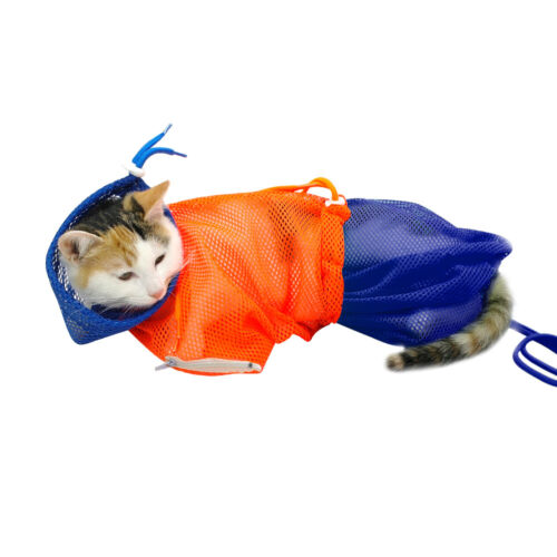 Mesh Cat Grooming Bathing Restraint Bag for Washing AntiScratch Nail Cut Bag