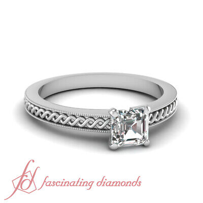 Milgrain Outline Solitaire Engagement Ring 0.56 TCW. Asscher Cut VS1 Diamond GIA