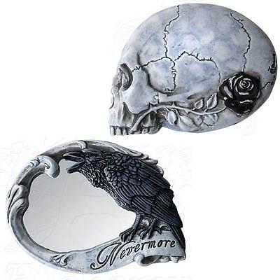 Nevermore Compact Mirror Edgar Allan Poe Black Crow Rose Skull Alchemy Vault V27