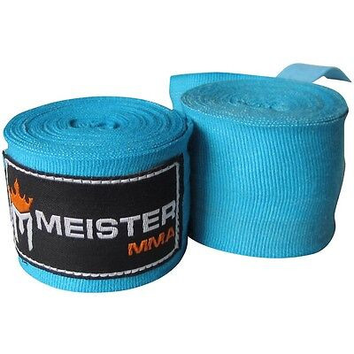 "MEISTER TURQUOISE 180"" SEMI-ELASTIC HAND WRAPS - MMA Mexican Boxing Adult Teal"