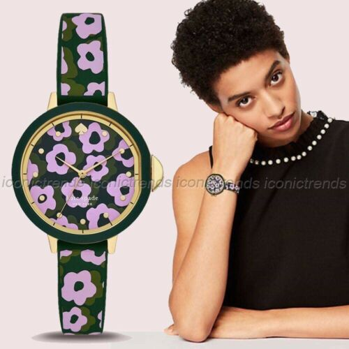 NWT Kate Spade KSW1542 Park Row ThreeHand Silicone Green Gold TwoTone Watch