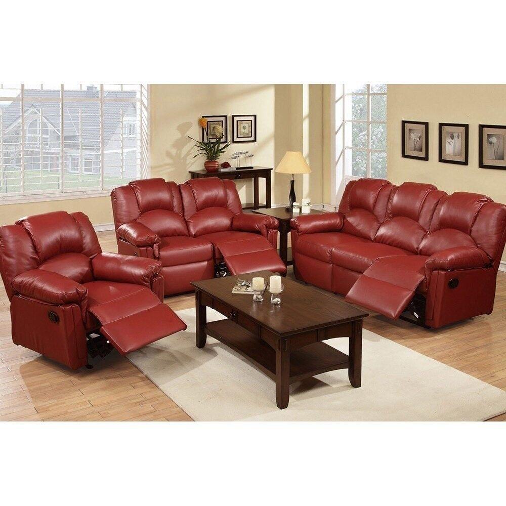 3Pcs Modern Burgundy Bonded Leather Sofa Loveseat Glider Rec