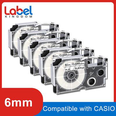 5 Pcs Casio Compatible Xr-6x Black On Clear Label Tape 14 X 26 Cw-l300 6mm 8m