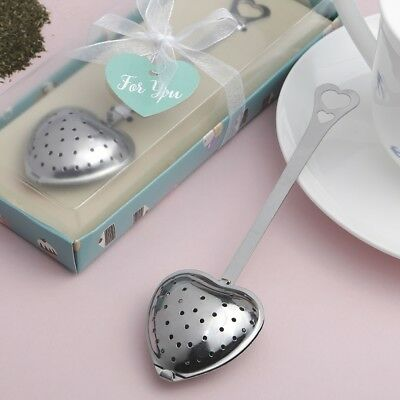 20 Silver Heart Metal Tea Infuser Baby Shower Birthday Party Favors