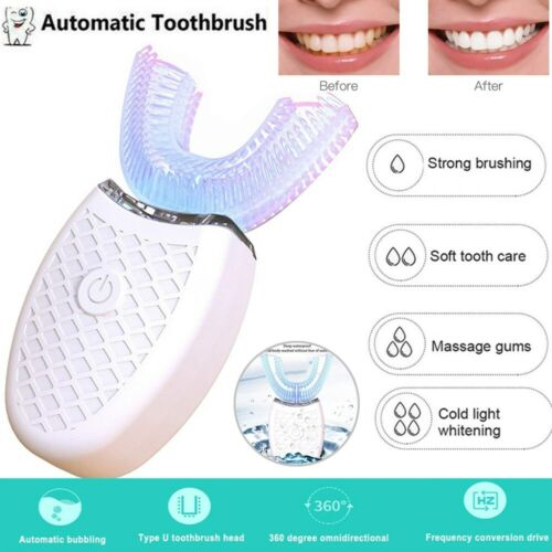 Teeth Whitening Nano Light Wireless Automatic 360° Electric Sonic Toothbrush US