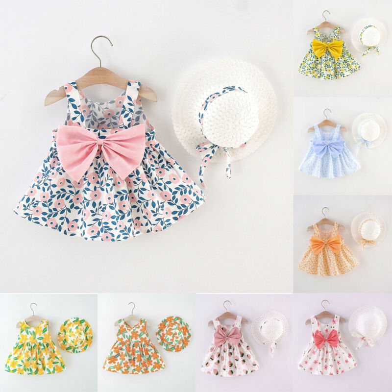 Toddler Baby Kids Girls Suspenders Floral Princess Dress Hat Clothes Outfits