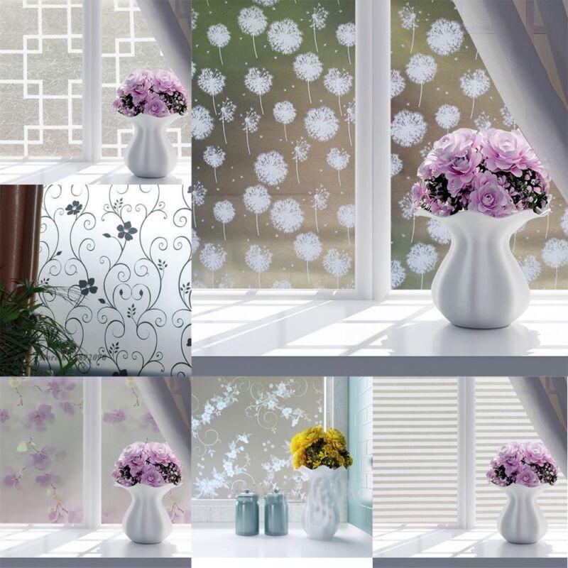E179 45x100cm Frosted Cover Glass Window Door Flower Sticker Film DIY Home Decor