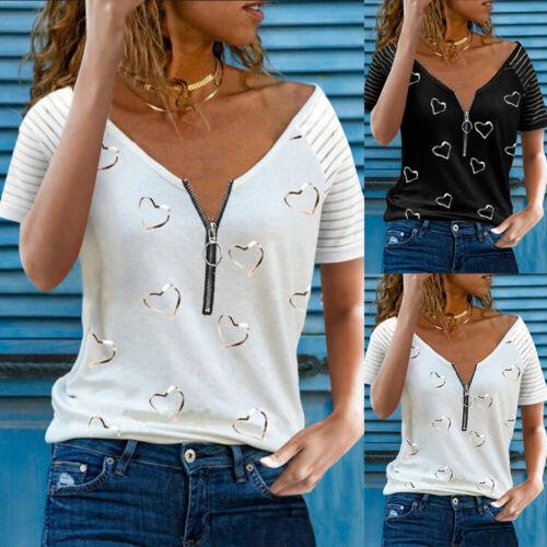 Damen V-Neck T-Shirt Bluse Kurzarm Shirt Hemd Freizeit Oberteile Sommer Tunika