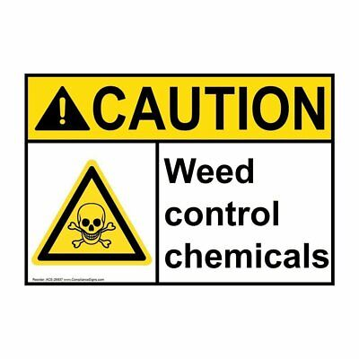 Compliancesigns Vinyl Ansi Caution Weed Control Chemicals Labels 5 X 3.50...