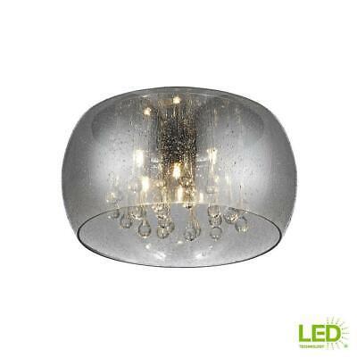 Home Decorators Collection 5-Light Chrome Glass Integrated LED Flush Mount