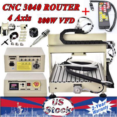 800w 4axis Cnc 3040 Router Engraver Milling Machine Desktop Carver Handwheel