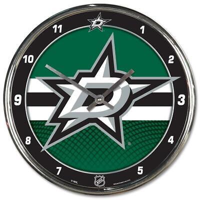 Dallas Stars Chrome Round Wall Clock [NEW] NHL Sign Banner Office Cave Dallas Stars Round Clock