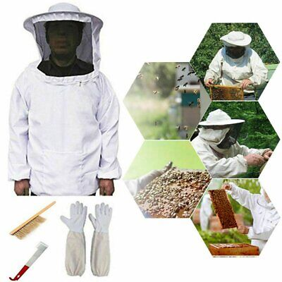 Adult Beekeeping Suit Cotton Full Body Bee Keeping Jacket With Veil Hood Gloves