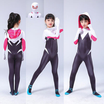 2019 Spider-Man: Into the Spider-Verse Gwen Kids Cosplay Costume Zentai - Spiderman Cosplay