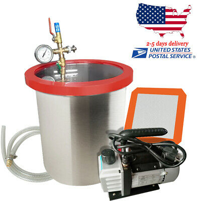 5 Gallon Stainless Vacuum Degassing Chamber Silicone W3cfm Pump Hose Heavy-duty