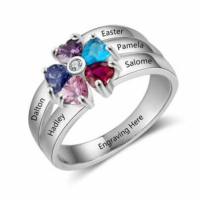 Customs For Women (Custom Mother Rings Women Birthstones Free Engraving 5 Family Names Grandma)