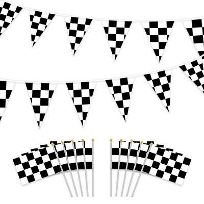 JPSOE 2pcs 50ft Black and White Pennant Banner Racing Flags +10 Checkered Flags